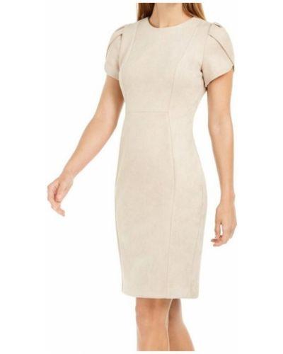 Beżowa sukienka elegancka Calvin Klein