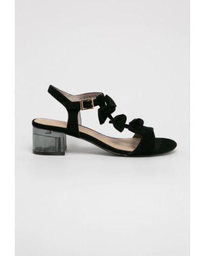 Туфли на каблуке кожаные черные Tamaris