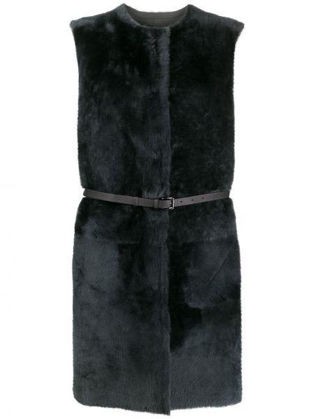 Серая куртка круглая с круглым вырезом из овчины Desa 1972