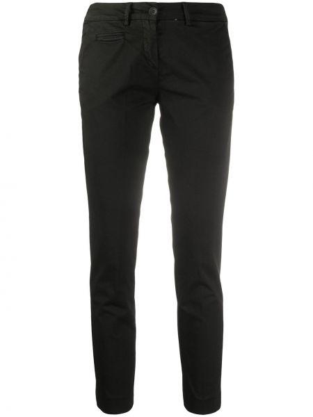 Черные укороченные брюки с воротником с поясом узкого кроя Peuterey
