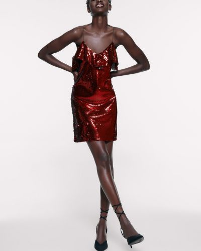 Платье мини короткое - красное Zara