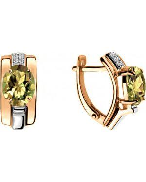 Серебряные серьги золотые позолоченные Aquamarine