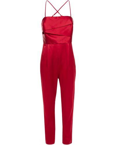 Шелковый красный комбинезон с карманами Michelle Mason