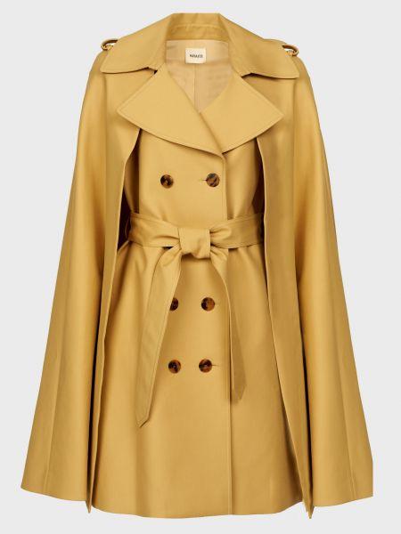 Бежевое пальто с капюшоном на пуговицах Khaite