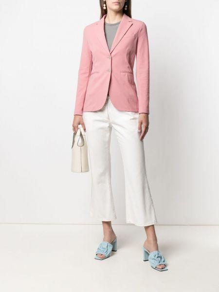 Однобортный розовый удлиненный пиджак с карманами Circolo 1901