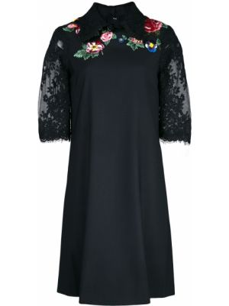 Ажурное черное платье мини с вышивкой Marchesa