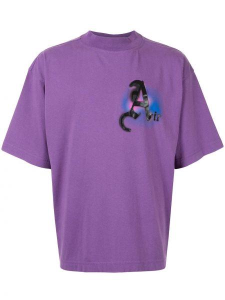Bawełna fioletowy koszula z krótkim rękawem okrągły dekolt krótkie rękawy Palm Angels