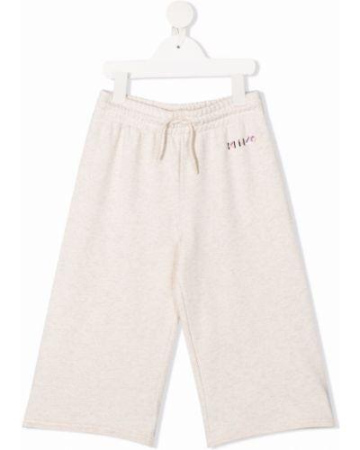 Beżowe spodnie bawełniane z haftem Kenzo Kids