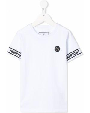 Koszula z krótkim rękawem biała z nadrukiem Philipp Plein