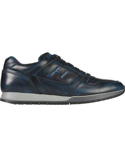 Кожаные кроссовки - синие Hogan