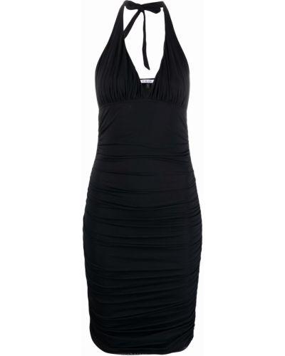 Czarna sukienka mini z dekoltem w serek Fisico