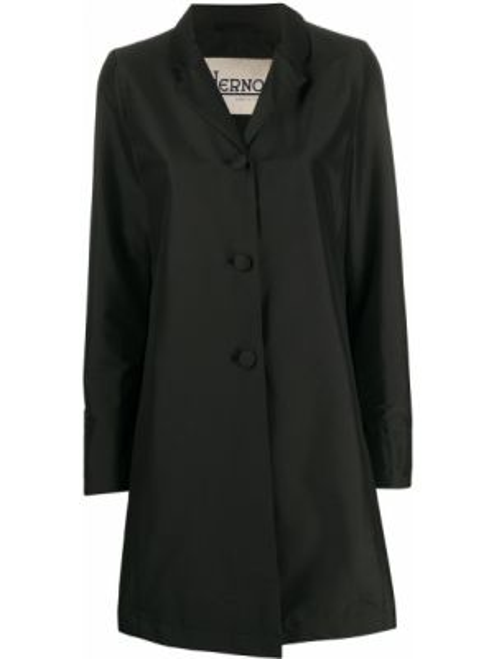 Czarny płaszcz przeciwdeszczowy z długimi rękawami elegancki Herno