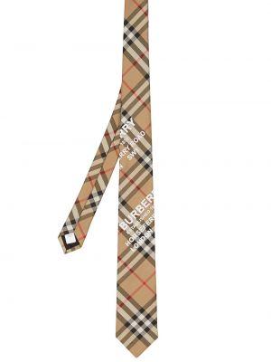 Шелковый коричневый галстук в клетку Burberry