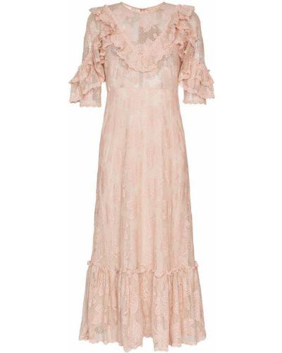 Розовое ажурное платье миди By Timo
