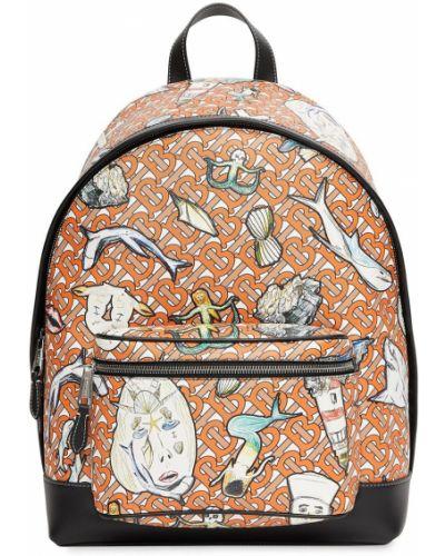 Pomarańczowy plecak skórzany z printem Burberry