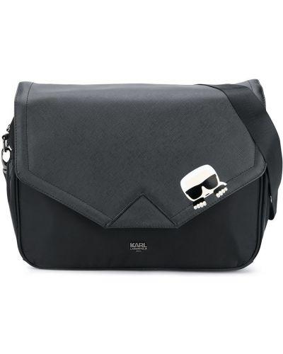 Черная сумка на плечо металлическая на молнии с карманами Karl Lagerfeld Kids