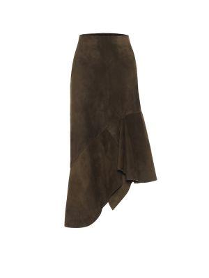 Кожаная юбка миди - зеленая Tom Ford