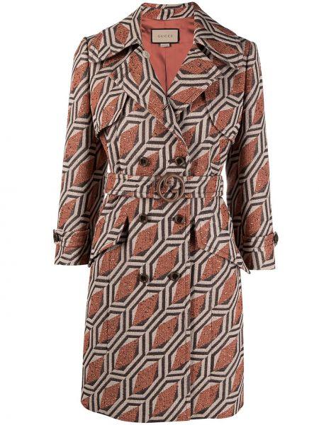 Bawełna z rękawami długo płaszcz z kieszeniami dwurzędowy Gucci