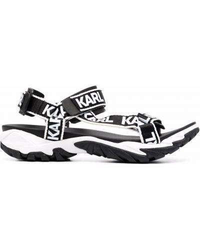 Gumowe czarne sandały peep toe Karl Lagerfeld