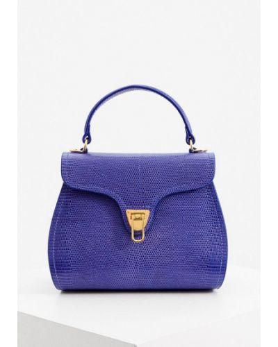 Синяя кожаная сумка из натуральной кожи Coccinelle