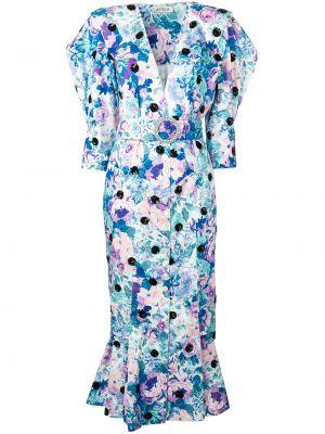 Biała sukienka mini krótki rękaw w kwiaty Attico