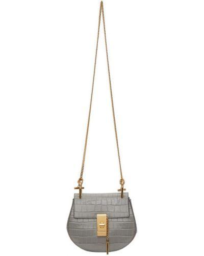 Zamsz torebka na łańcuszku prążkowany z łatami złoto Chloe