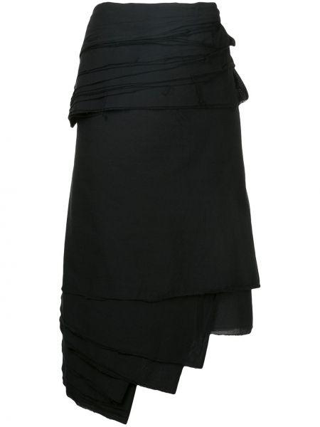 Черная юбка каскадная винтажная с завязками Junya Watanabe Comme Des Garçons Pre-owned