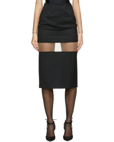 Нейлоновая черная юбка с сеткой на крючках Mugler