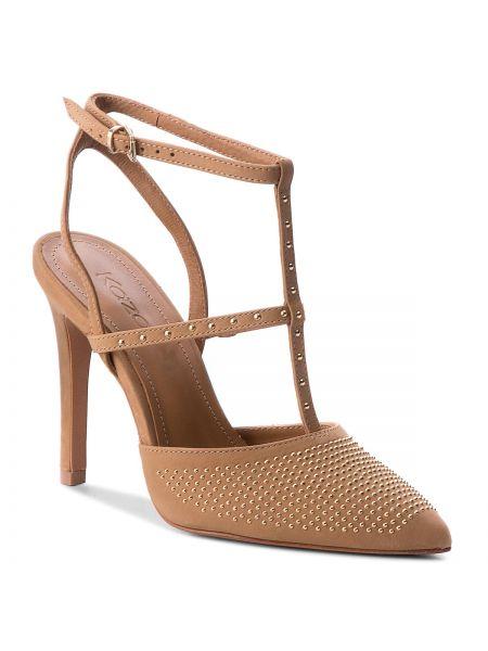 Beżowe sandały w paski Kazar