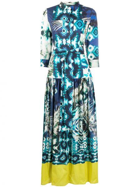Хлопковое синее платье с воротником с рисунком Sara Roka