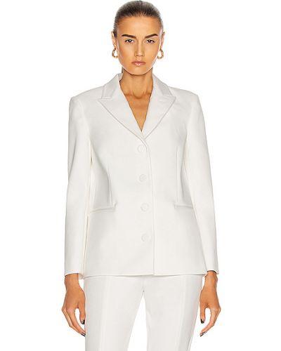 Шелковый белый классический пиджак с карманами Khaite