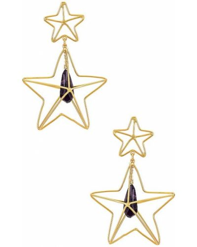 Fioletowe złote kolczyki sztyfty Mercedes Salazar