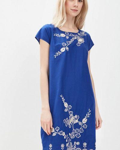 Прямое синее платье Indiano Natural