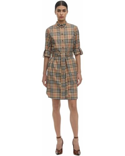 Платье с поясом на пуговицах из поплина Burberry
