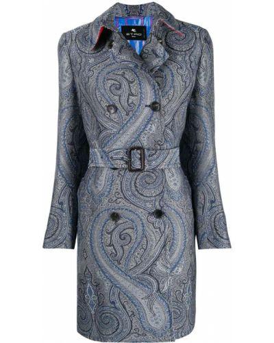 Синее шерстяное пальто классическое двубортное Etro
