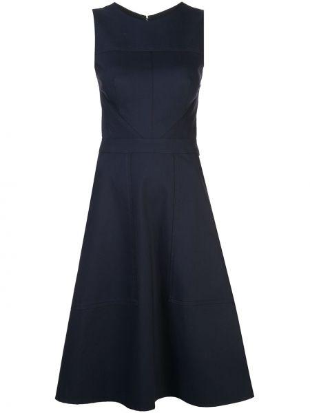 Niebieska sukienka midi elegancka z kapturem Carolina Herrera