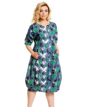Прямое летнее платье в стиле бохо с карманами с вырезом Novita