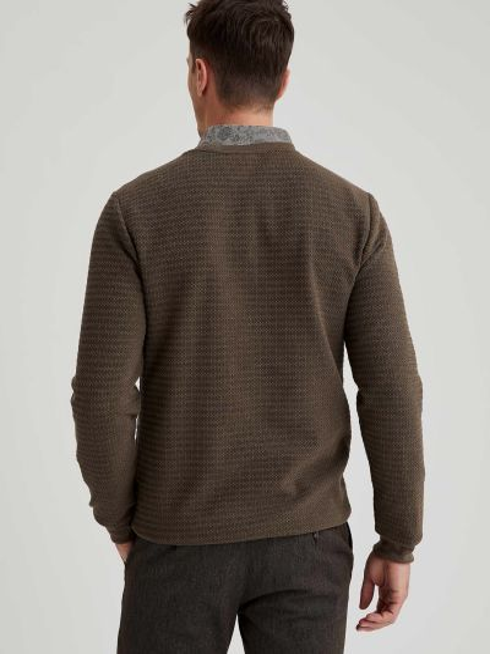 Зеленый свитер круглый с вырезом Defacto