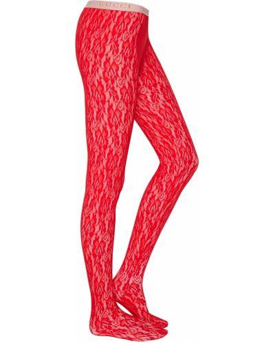 Колготки с цветочным принтом красный Gucci