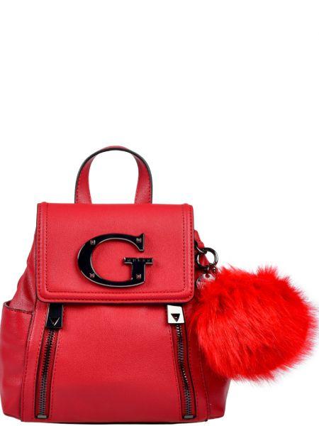 Кожаный рюкзак - красный Guess