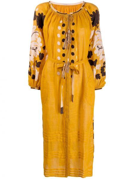 Платье миди с вышивкой с цветочным принтом Vita Kin