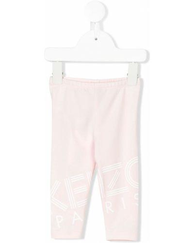 Różowe legginsy bawełniane Kenzo Kids