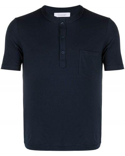 Niebieski t-shirt bawełniany krótki rękaw Cruciani