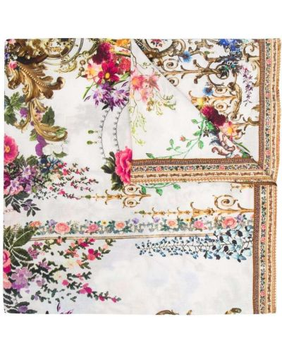 Biały pareo z jedwabiu w kwiaty Camilla