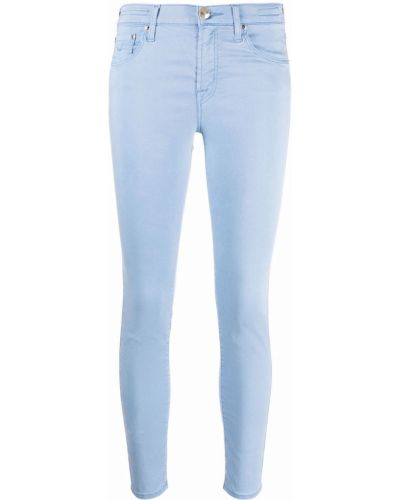 Синие укороченные джинсы с карманами с заплатками Jacob Cohen