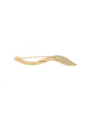 Желтая брошь позолоченная металлическая Christian Dior Pre-owned