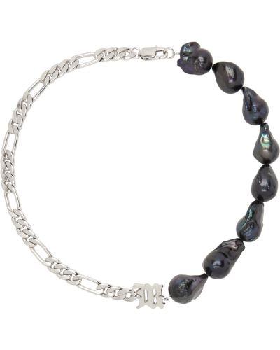 Fioletowy naszyjnik łańcuch perły srebrny Misbhv