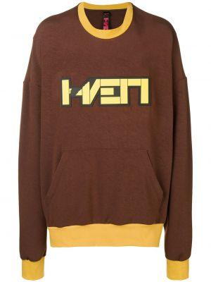Żółty długi sweter z wiskozy z długimi rękawami Haervaerk