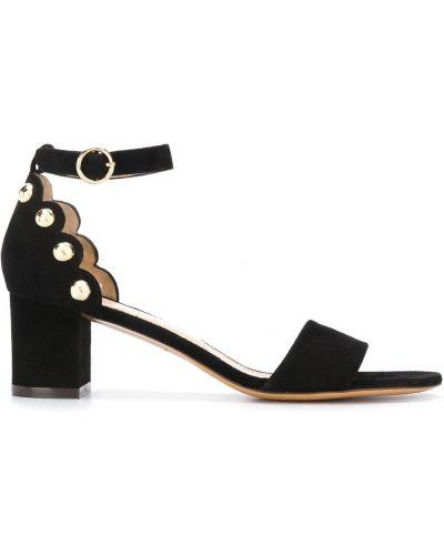 Мягкие черные босоножки на каблуке с пряжкой Tila March