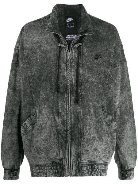Хлопковая серая длинная куртка с вышивкой с карманами Nike